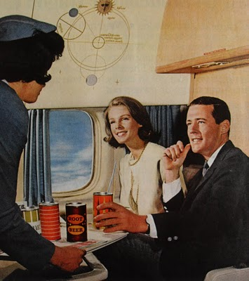 1960s-man-woman-airplane-cabin-stewardess-suits-vintage-photo-aluminum-can-advertisement-soda